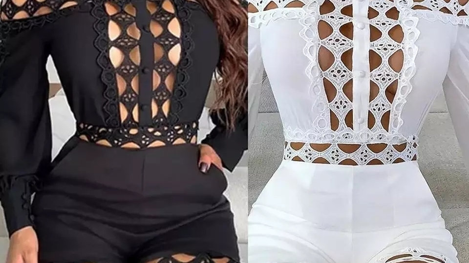 Lace Patchwork Long Sleeve Romper White
