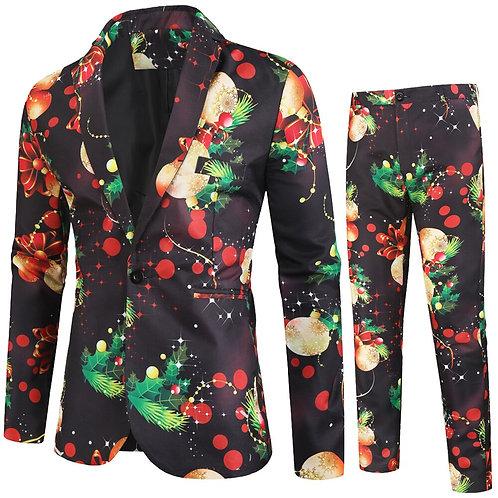 Men's Tight Christmas Print Suit