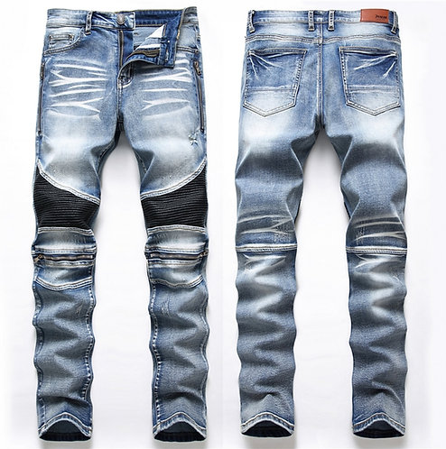 Casual Washed Cotton Fold Skinny Ripped Jeans Elasticity Slim Denim Jeans