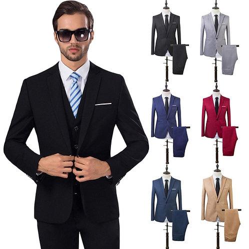 Formal Men Suit Slim Fit Bespoke Groom Tuxedo Blazer Jacket Pants 2Pcs