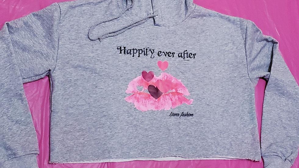 Crop Hoodie Happily Ever After/Grey