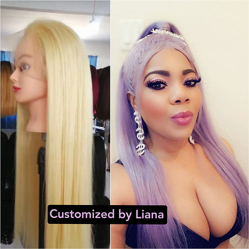 Customized Lace frontal wig/lavender