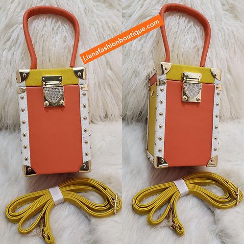 Luxury diamond buckle box handbag