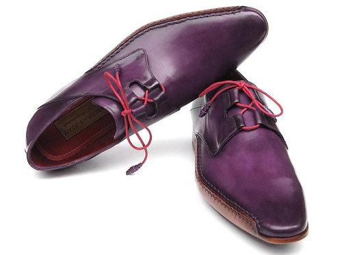 Paul Parkman Men's Ghillie Lacing Side Handsewn Dress Shoes - Purple Leather