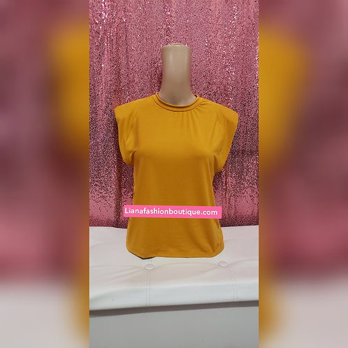 Sleeveless Tee Shirt /Mustard