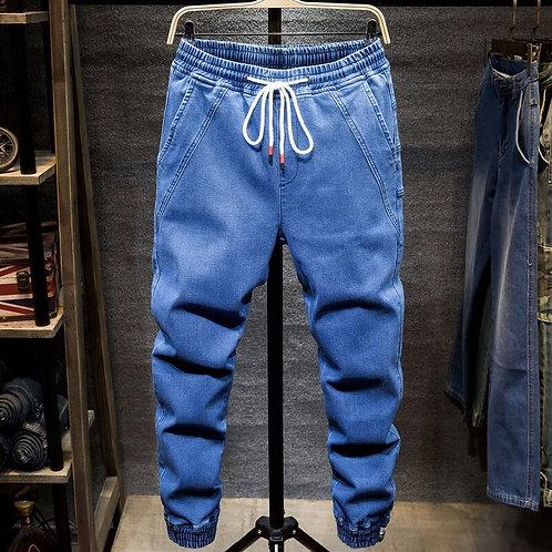 Harem Denim Jeans Men Loose Drawstring Elastic Waist Spliced Bunch Foot Solid