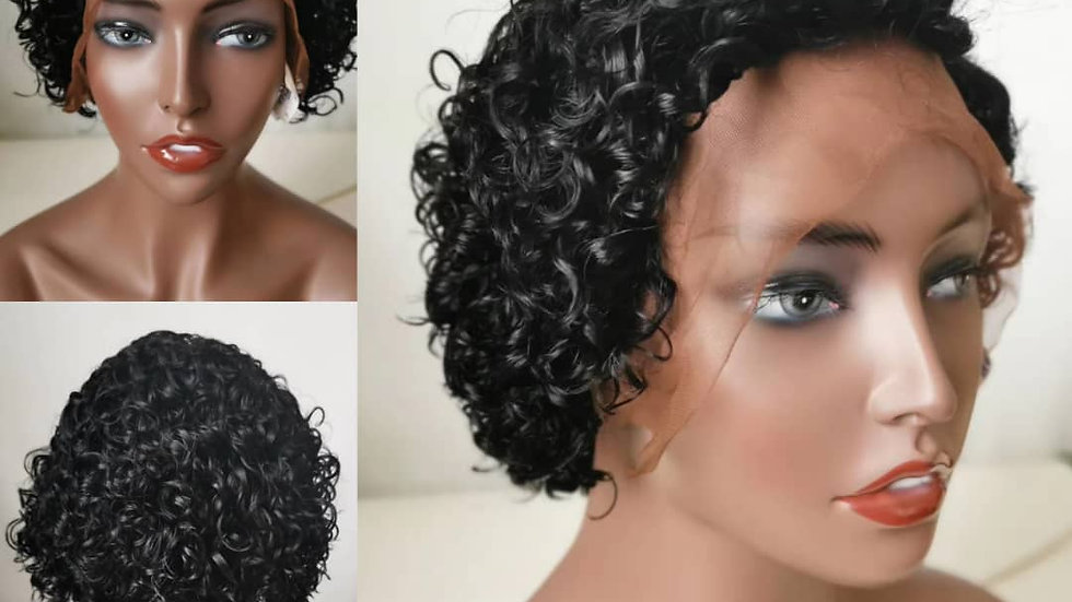 """Short curly lace frontal wig 8"""""""