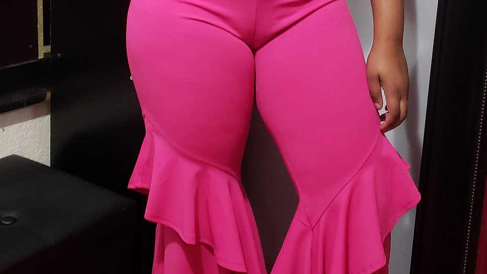 Two piece pants set hot pink