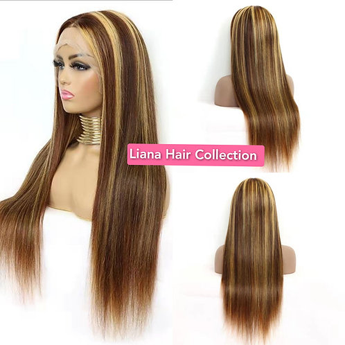 """Brown Highlights Lace Frontal Wig 18"""""""