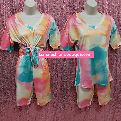 Two piece set capri Tie dye