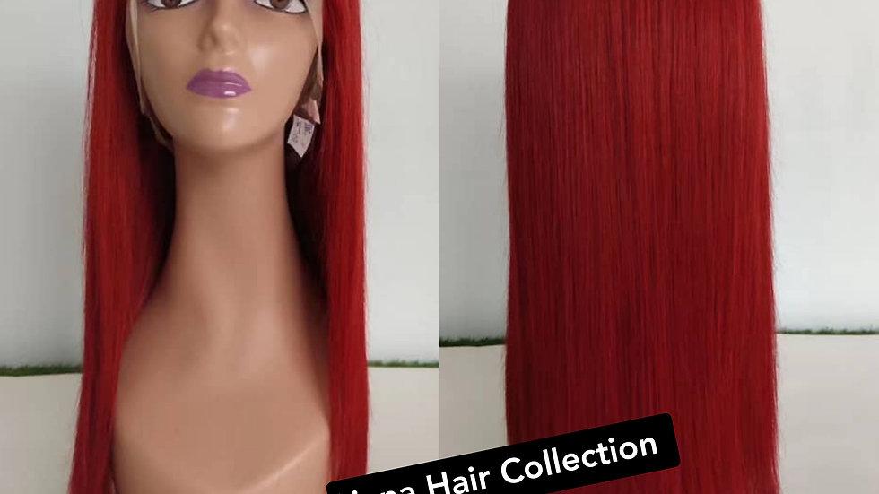 "Hot Red 100% Human Hair 18"""