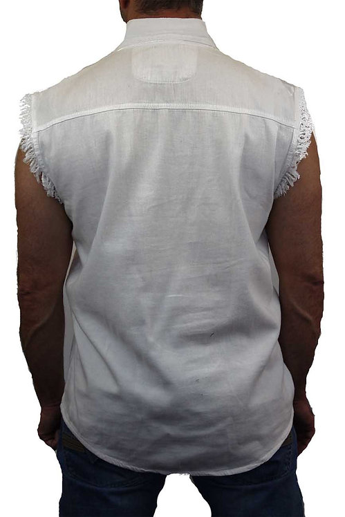 Men's Sleeveless Denim Shirt Biker Vest 2 Front Pockets