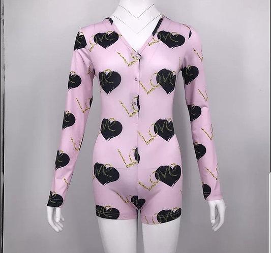 Onesie romper/hearted pink
