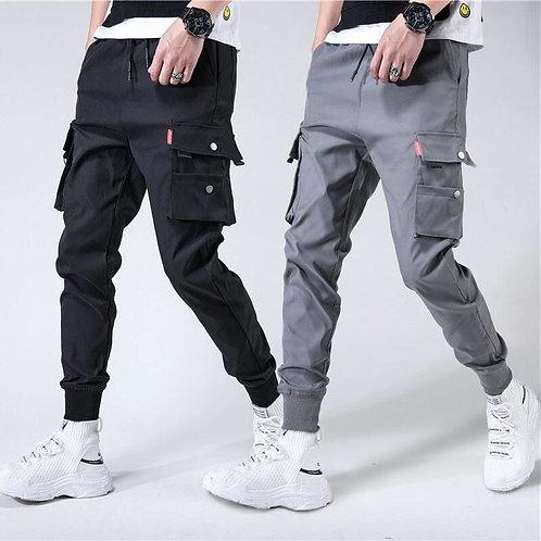 Men's Side Pockets Harem Pants Joggers Trousers Fashion Streetwear Pant Black