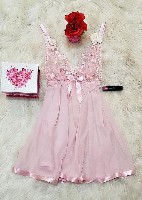 Pink Mini dress lace lingerie