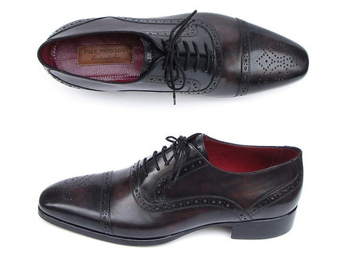 Paul Parkman Men's Captoe Oxfords Bronze & Black Shoes (ID#77U844)