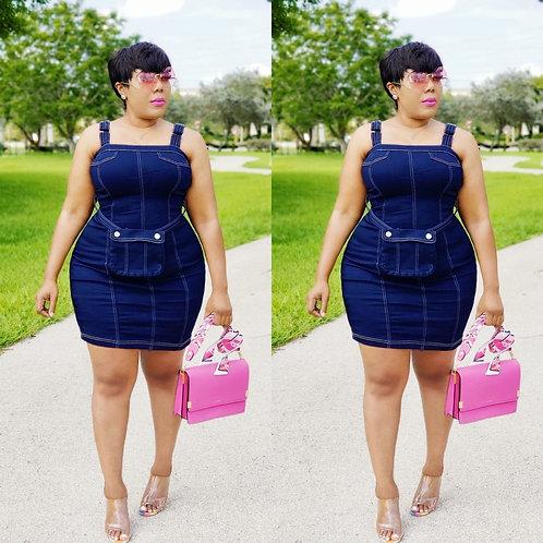 Fashion Denim dress with pocket