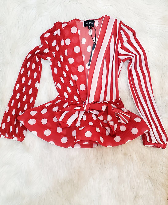 Red/white blouse