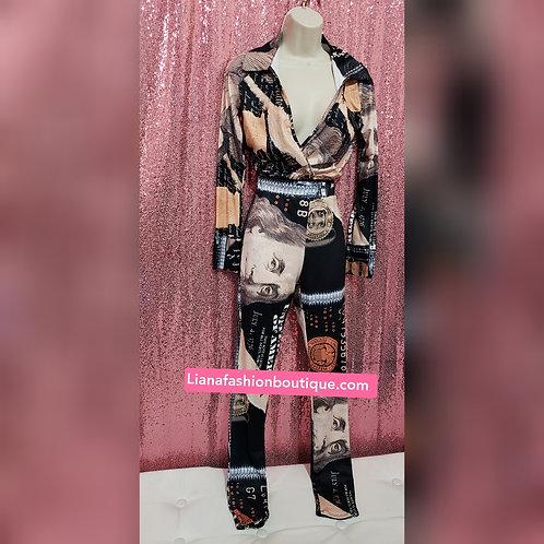 Two Piece set Legging Money Fashion