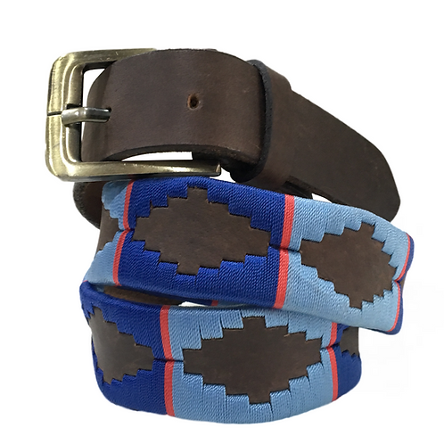 Mens Womens Unisex Argentinian Brown Leather Embroidered Gaucho Polo Belt