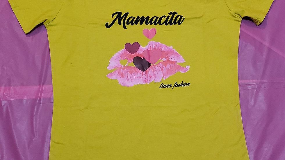 V Neck T_shirt Mamacita/Mustard