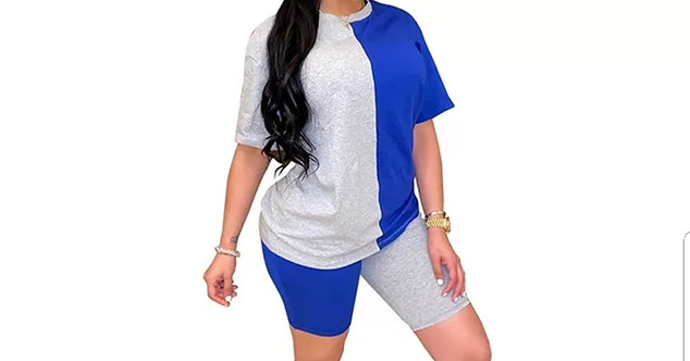 Two piece set contrast color tight casual suit