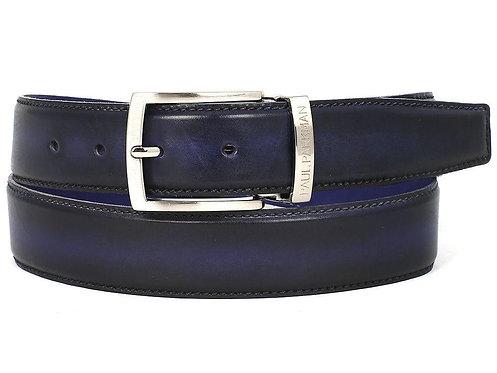 PAUL PARKMAN Men's Leather Belt Dual Tone Navy & Blue (ID#B01-NVY-BLU)