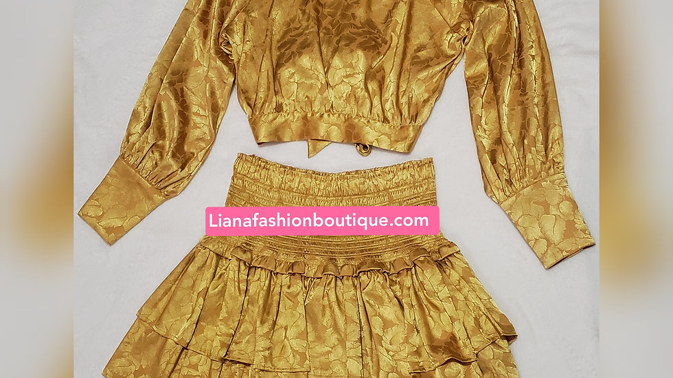 Two Piece Skirt Set/Mustard