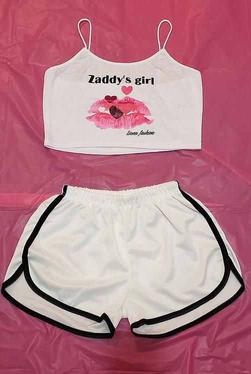 Short set zaddy's Girl/White