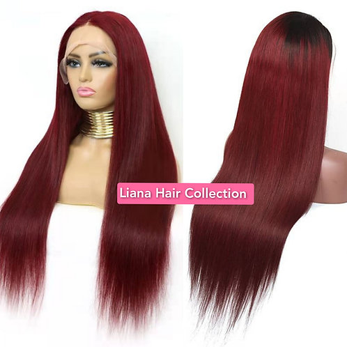 """Burgundy Lace Frontal Wig 16"""""""
