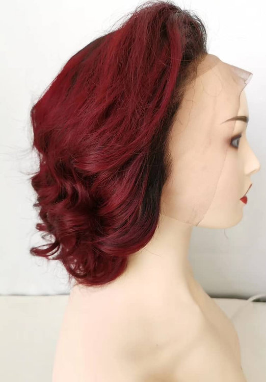 """Burgundy frontal lace wig 14"""""""
