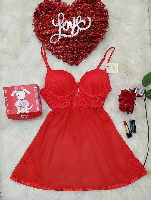 Red Mini dress, lace lingerie