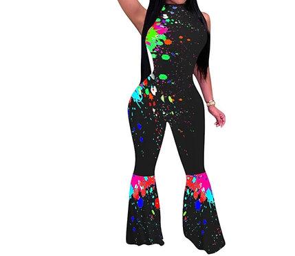 Fashion print off_shoulder ruffle jumpsuit