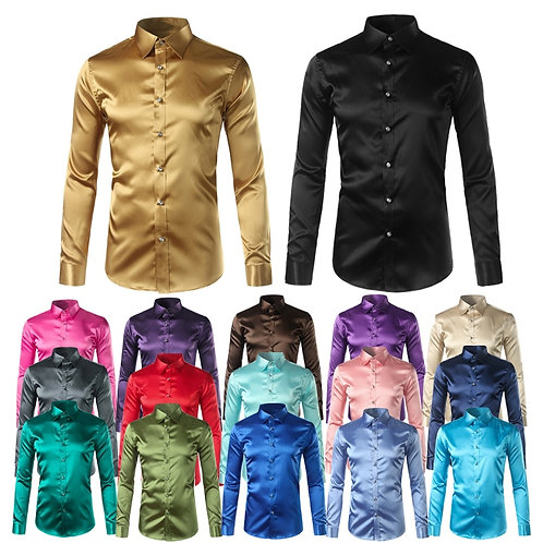 Silk Shirt Men Satin Smooth Solid Tuxedo Shirt Business Homme Casual Slim Fit