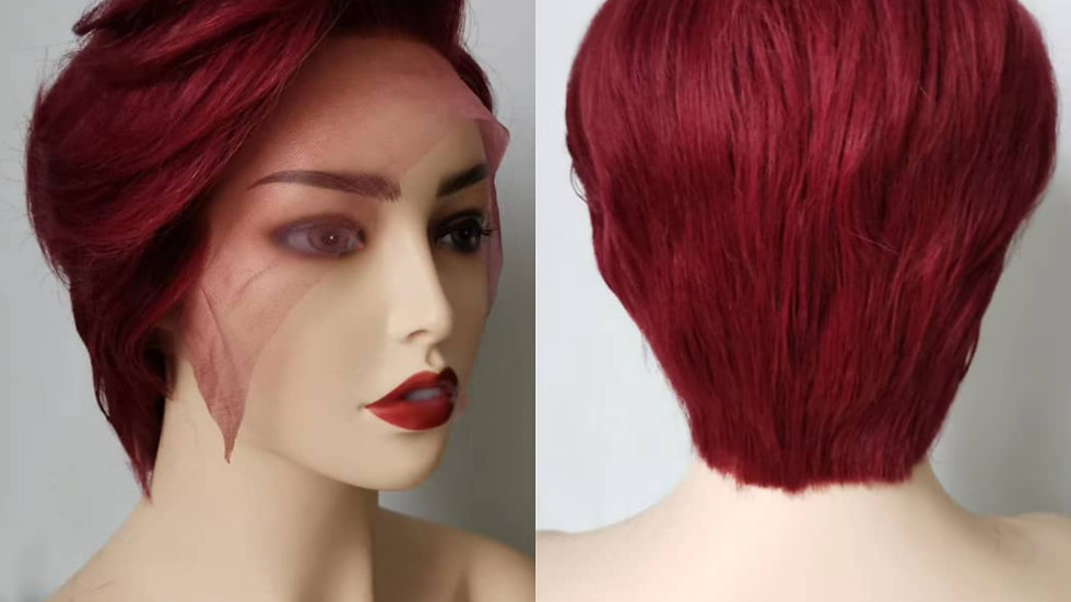 Shortcut Burgundy Lace frontal wig