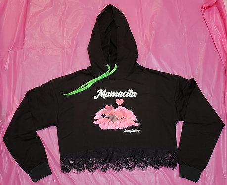 Crop Hoodie Mamacita/Black