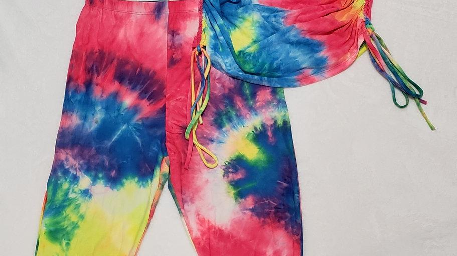 Two Piece Set Tie-dye Leggings