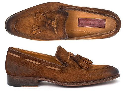 Paul Parkman Men's Tassel Loafer Brown Antique Suede Shoes (ID#TAB32FG)