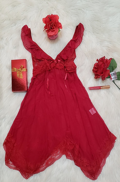 Dark Red Mini Dress See Through Lingerie