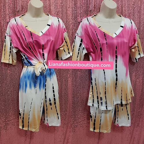 Two piece set capri Tie dye