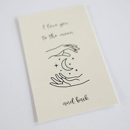 Boeketkaartje 'I love you to the moon and back'