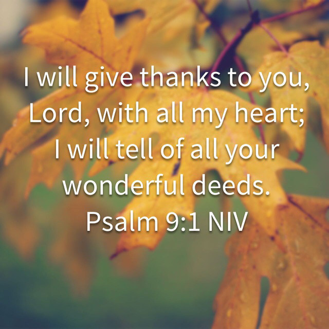 Daily Bible Verse about Thanking God -  Bible Time - Bible Verses - Psalm 9:1