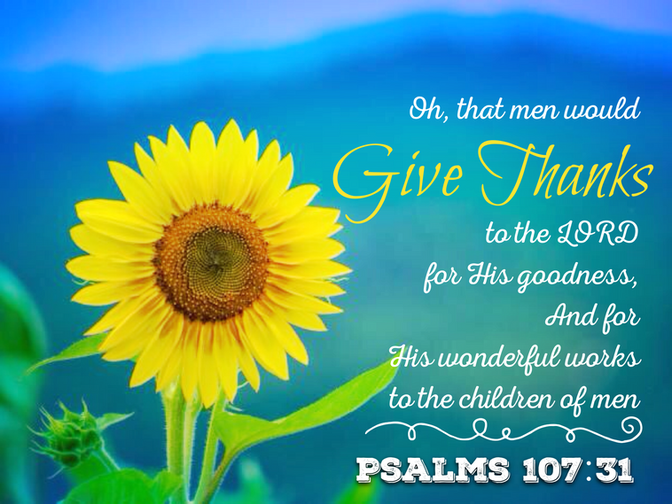 Daily Bible Verse About Giving Thanks To The Lord - Bible Time - Bible Verses