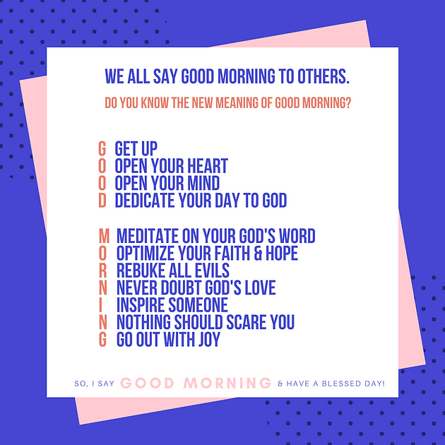 What Does it mean to say Good morning?