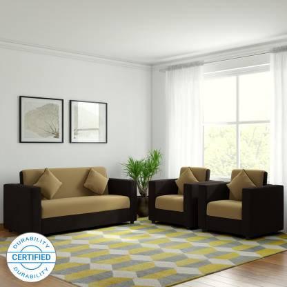 Citrus Fabric - 3 + 1 + 1 Sofa Set (Cream & Brown)
