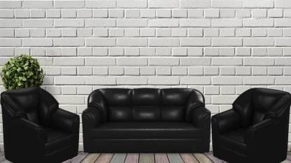 Leatherette - 5 Seater Black Sofa Set