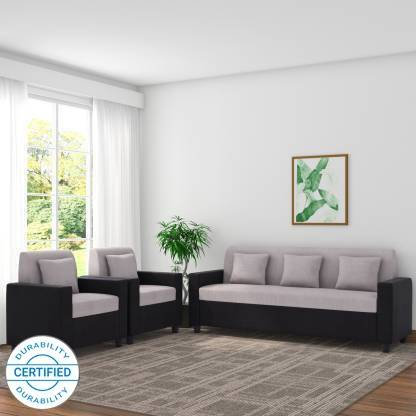 Pearl Fabric - 5 Seater Black Grey Sofa Set