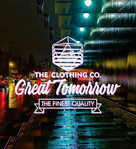 Great Tomorrow Logo streets in the rain night time ligths and traffic in the city night men walking