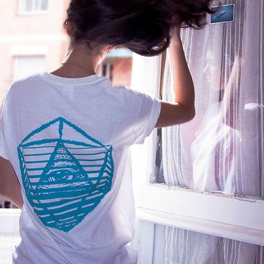 girl white t-shirt window