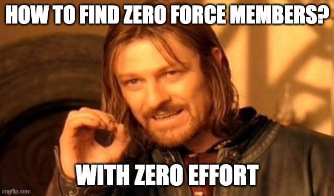 Find zero force members with zero effort